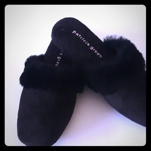 Patricia Green black suede with fur slippers